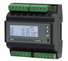Rail mounted 3-phase power network meter with Ethernet and recording