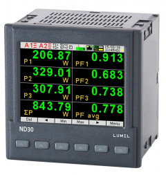 Power network meter with Ethernet, recording and graphical screen